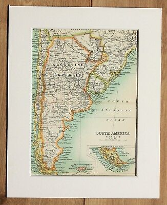 c.1900 Antique Small Map - South America Argentina Uruguay Paraguay - Mounted