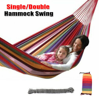 Outdoor Heavy Duty Cotton Rope Travel Camping Hanging Hammock Swing Bed w/Bag