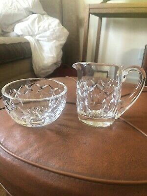 Vintage Waterford Irish Crystal Sugar Bowl & Creamer Pitcher Set