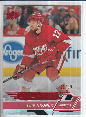 18/19 Ud Overtime Wave 3 Filip Hronek Rc Rookie Red Parallel /99 #172