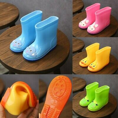 Toddler Infant Kids Baby Girls Boy PVC Cartoon Animals Rain Boots Shoes Galoshes