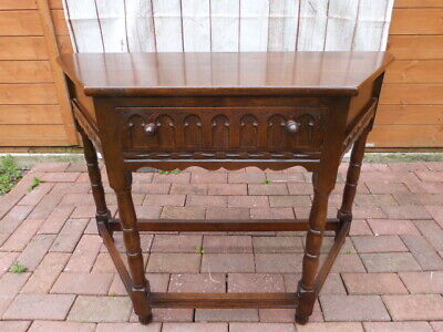 "Lovely Vintage ""Old Charm"" Style Oak Hall Console Table With Drawer."