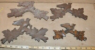 """4 Vintage Hand Carved Cuckoo Clock Bird Toppers 6 3/4"""" - 9 1/4"""" Long"""