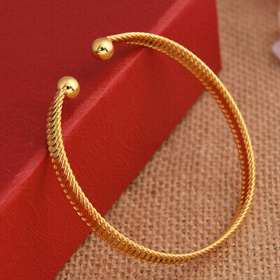Simple Generous 18k Yellow Gold Filled Openable Bangle Engagement Jewelry