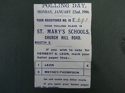 1906  General Election Voting Information Card, (Produced by the Liberal Party)