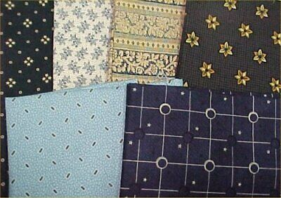 Cotton Quilt Fabric Civil War Fat Quarters 18 x 22 Pack 6 Print Shades of Blue