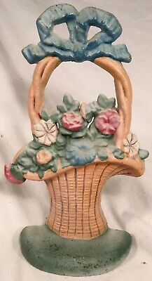 ANTIQUE Cast Iron HUBLEY? # 69 French Flower Basket Doorstop Door Stop