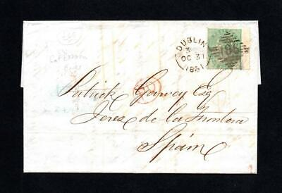 Ireland Postal History: 1/- No Corner Letter On 1861 Entire Dublin To Spain