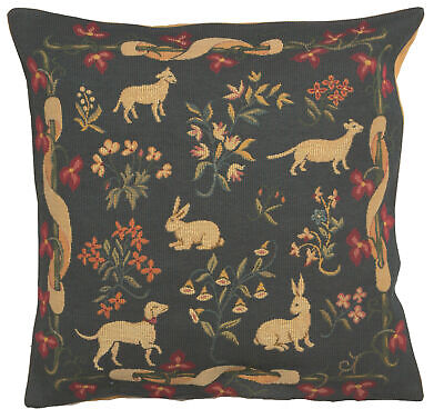 Medieval Bleu French Forest Animal Decorative Woven Tapestry Cushion Cover