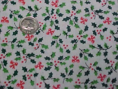 Cotton Fabric Quilt Sew Material Christmas Crafts Tiny Holly Ribbons RED & GREEN