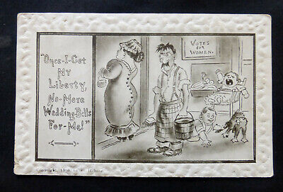Early Suffragette Comic, Votes for Women, House Husband, 1910