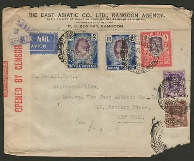 Burma 1941 KGVI 5r 1r x2 EAC Perfins Used Rangoon East Asiatic Co Cover - USA