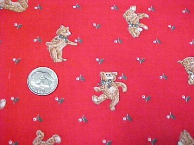 Cotton Fabric Quilt Sew Material Christmas Crafts Teddy Bears Holly RED Estate