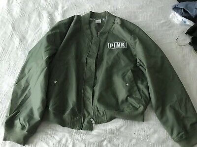deeb596bf NWT VICTORIAS SECRET VS Pink Army Green Bomber Jacket Womens Size ...