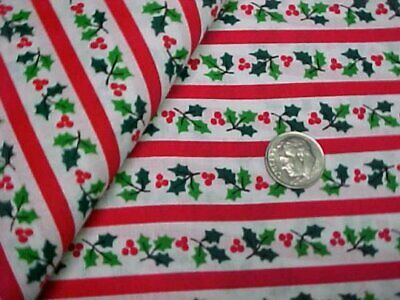 Cotton Fabric Quilt Sew Material Christmas Crafts Red Stripes Holly Green