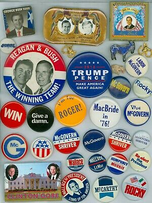 30 Vintage 1960's-16 Presidential Candidates Campaign Pinback Buttons Bush Rocky