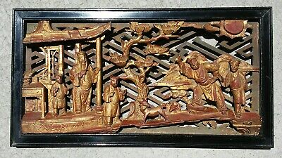 Antique Chinese Wood Carved Scholar Panel Qing Dynasty Wood Relief Plaque