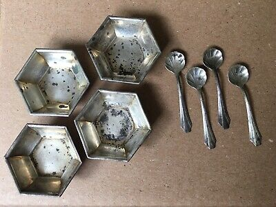 Set Of 4 Webster Company Sterling Silver Salt Spoons And Cellars Dishes 925