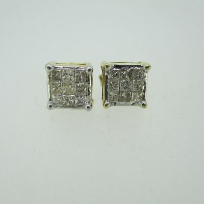 14k Yellow Gold Approx .75ct TW Illusion Cut Diamond Stud Earrings