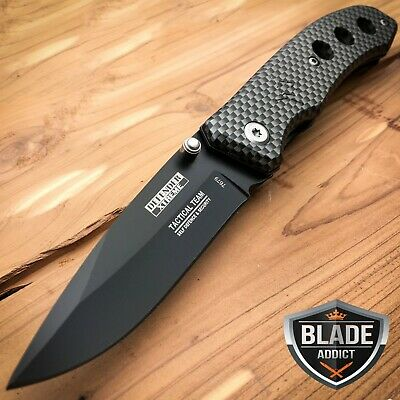 "7"" Carbon Fiber CAMO HUNTING Tactical Combat Spring Assisted Open Pocket Knife-M"