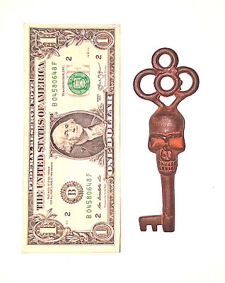 Victorian Skull Key Vintage Antique Style Cast Iron Skeleton Key