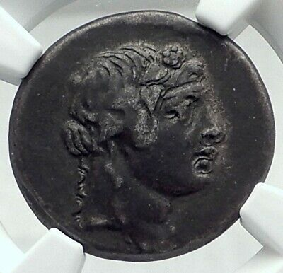PANTIKAPAION in BOSPORUS 90BC Authentic Ancient Greek Coin w DIONYSUS NGC i79642