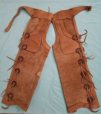 """Vintage """"LEATHER WESTERN COWBOY CHAPS"""" with Conchos and Toggle Buttons"""