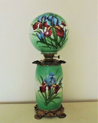 19th c. Orchid Banquet Lamp Oil / Kerosene Converted Antique Victorian