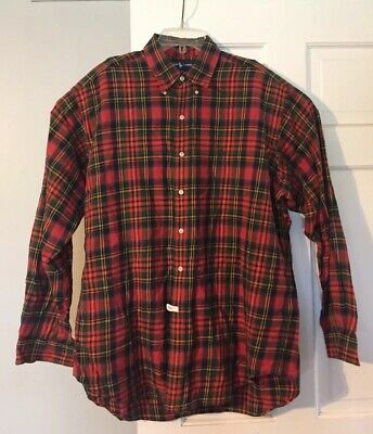Polo Ralph Lauren Blake Cotton Mens L Holiday Plaid Button Down Super Soft