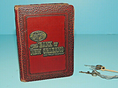 """Vintage 1923 Bankers Utilities Coin Book Bank """"The Bank of New Orleans"""" w/ Keys"""