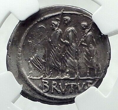 BRUTUS - Julius Caesar Assassin 54BC Ancient Silver Roman Republic Coin i79206