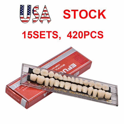 15Sets Dental Denture Acrylic Resin Full Set Teeth Upper Lower Shade 23# A2 USA
