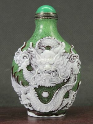 Excellent Chinese Two Dragon Carved Peking Overlay Glass Snuff Bottle