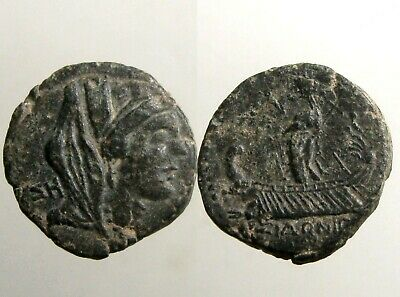 SIDON PHOENICIA BRONZE AE22______Glass Manufacture______CROWNED TYCHE AND GALLEY