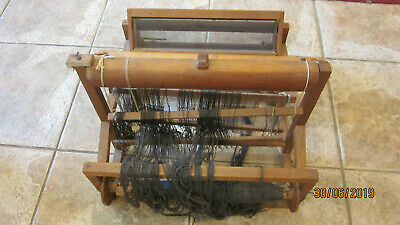 "Antique  Wooden Table Weaving Loom (16x16 x 12"" ) with 2 shuttles"