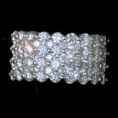 3.5Ct 100%Natural Diamond 14K White Gold Cluster Wedding Ring EFFECT 7Ct RWG79-5