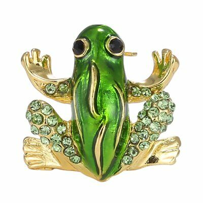 Hot Adorable Green Enamel Crystal Large Frog Rhinestone Brooch Pin Gold Plated
