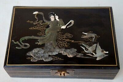 Vintage Chinese Black Lacquer Wood Jade Jewelry Box Brass Hinges