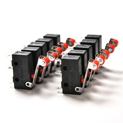 10Pcs/lot Micro Roller Lever Arm Open Close Limit Switch KW12-3 PCB Microswit`FR