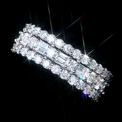 1.5Ct 100% Natural Diamond 14K White Gold Cluster Ring EFFECT 3Ct RWG91-6
