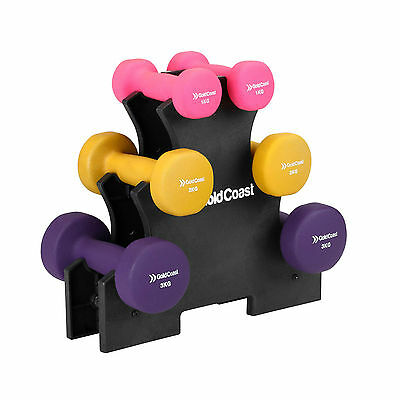 Gold Coast 12kg Dumbbell Set with Stand | Free Weights for Training & Exercise