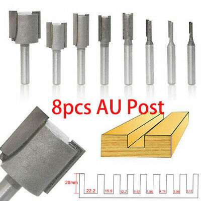 "8pcs 1/4"" Shank Straight Dado Router Bit Set Milling Cutters Bits Woodworking UK"