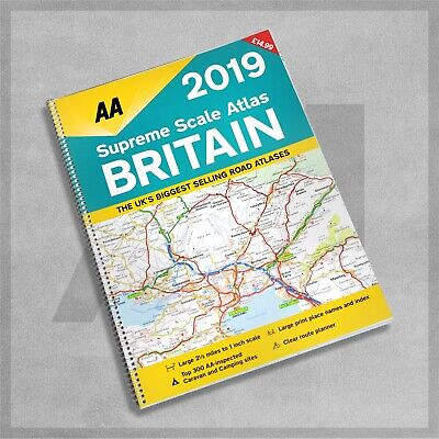AA Supreme Scale Atlas Britain 2019 Road Map Planner UK Large Print