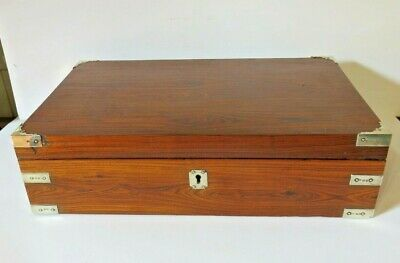 Large Antique Georgian Wooden Rosewood Box With Silver Fittings