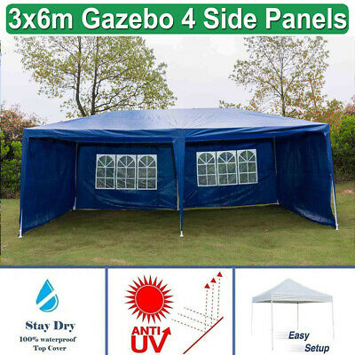 Garden Gazebo Party Wedding Tent Outdoor PE Canopy Marquee BLUE 3 x 6M UK Stock