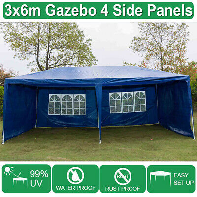 Gazebo Outdoor PE Garden Marquee Canopy Party Tent Blue 3mx6m 120g Hot Sale UK