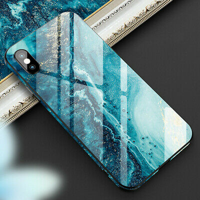 For iPhone X XR XS MAX 6 6s Plus 7 8 Painted Marble Tempered Glass Phone Case