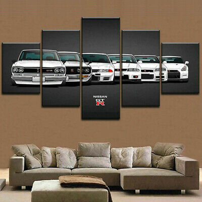 Nissan Skyline GTR Evolution 5 pcs Painting Printed Canvas Wall Art Home Decor