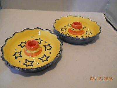 2 Pfaltzgraff Pistoulet Taper Candle Holders / Saucers - Excellent - Stoneware