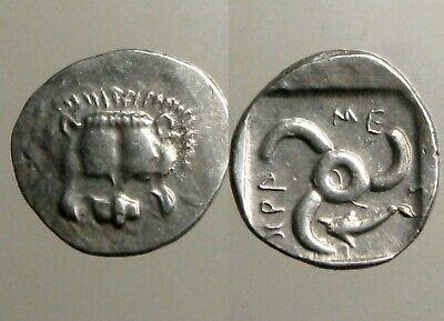 MITHRAPATA (DYNAST OF LYCIA) SILVER SIXTH STATER___Facing Lion Scalp & Triskeles
